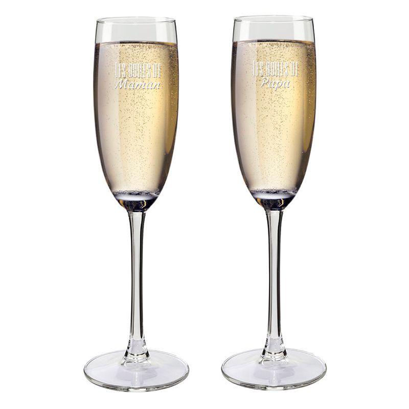 fl tes champagne papa et maman personnalis es une id e de cadeau original amikado. Black Bedroom Furniture Sets. Home Design Ideas