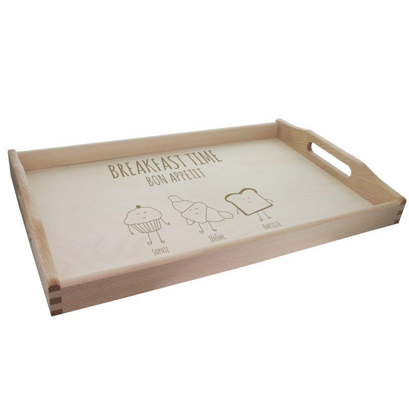 plateau petit d jeuner breakfast time personnalisable amikado. Black Bedroom Furniture Sets. Home Design Ideas