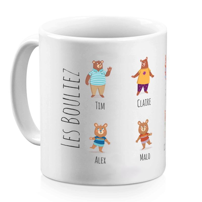 Audacieux Mug famille ours personnalisé | Mugs personnalisés | Amikado HA-84