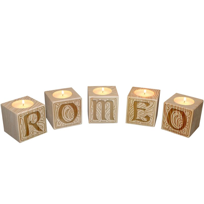 Bougeoir Petit cube lettres
