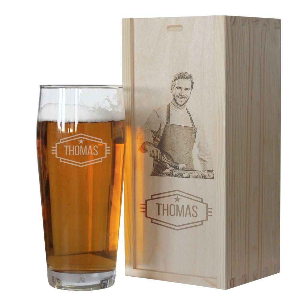 Verre à bière prénom et son coffret photo