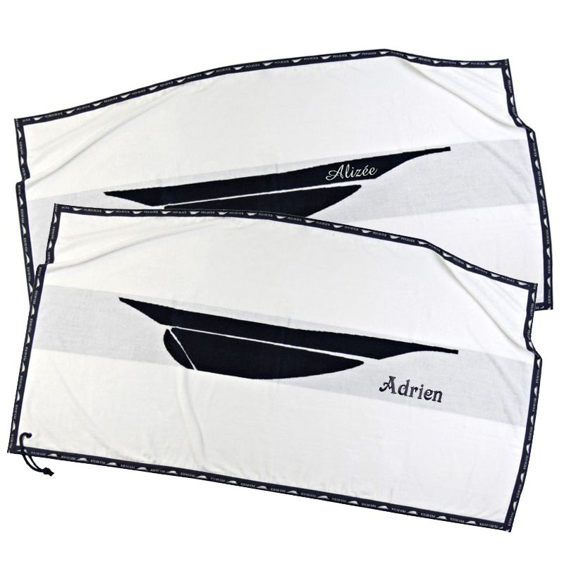 serviette de plage pen duick brod e une id e de cadeau original amikado. Black Bedroom Furniture Sets. Home Design Ideas