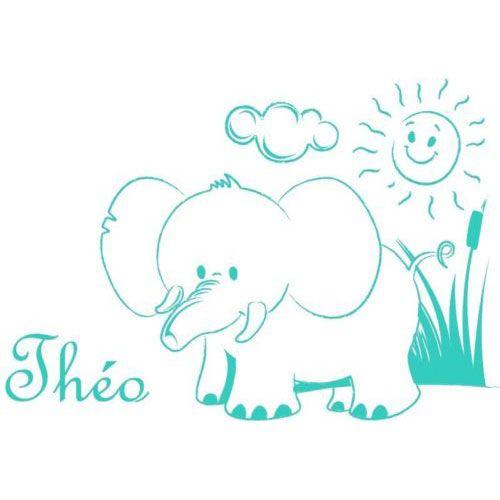 Stickers b b pr nom elephant amikado - Stickers elephant chambre bebe ...