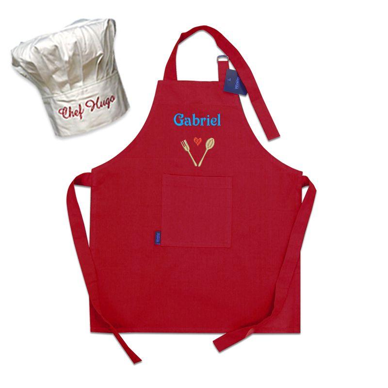 Set tablier et toque personnalis pour enfant amikado - Tablier de cuisine personnalisable ...