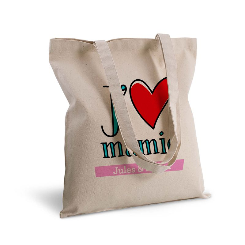 Idee Cadeau Fete Grand Mere.Tote Bag Deluxe Personnalise J Aime Mes Parents