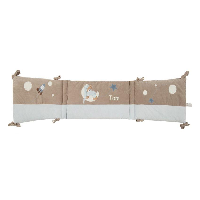Tour de lit petit ours bleu brod avec pr nom b b amikado - Ciel de lit bleu ...